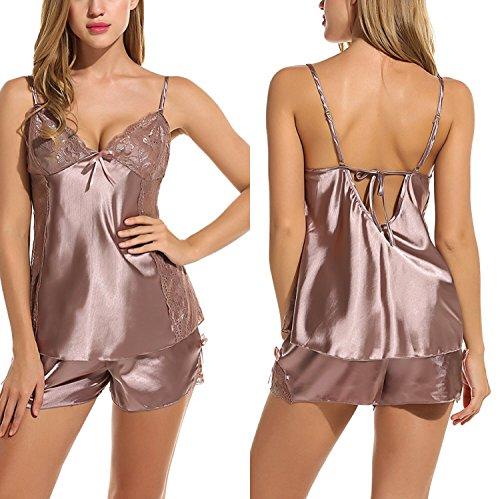 Monrolove Women Sexy Lingerie Set Satin Sleepwear Pajama Two Piece