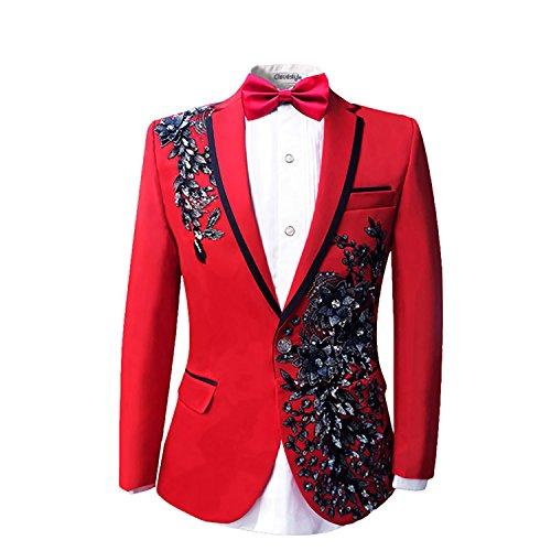 Cloud Style Completo da uomo giacca e pantaloni eleganti da matrimonio concerto o festa di compleanno blazer decorato con dettagli brillanti Red 2 XL