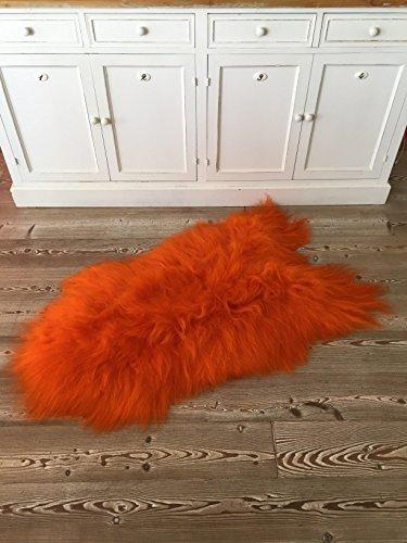 Echtes Lammfell - Schaffell vom Island-Schaf - Langhaar Fell Teppich – Vorleger - Premiumqualität (Orange) (Orange Fell)