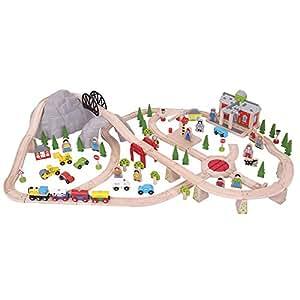 Bigjigs Rail en bois Ensemble de chemin de fer de montagne–112éléments de jeu