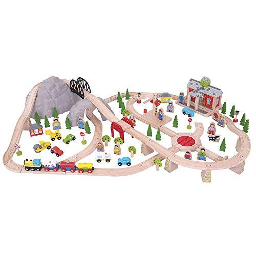 Bigjigs Rail en Bois Ensemble de Chemin de Fer de Montagne - 112 éléments de Jeu