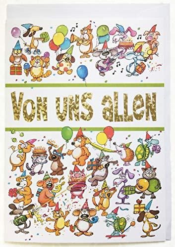 A4 XXL Geburtstagskarte lustig bunt von uns allen