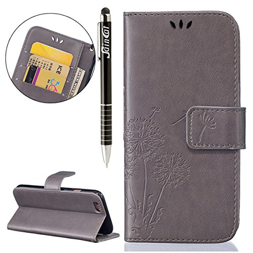 SainCat Apple iPhone 6 Plus Custodia in Pelle,Anti-Scratch Protettiva Corpertura Caso Custodia Per iPhone 6s Plus,Elegante Creativa Dipinto Pattern Design PU Leather Flip Ultra Slim Sottile Morbida Po dente di leone,grigio