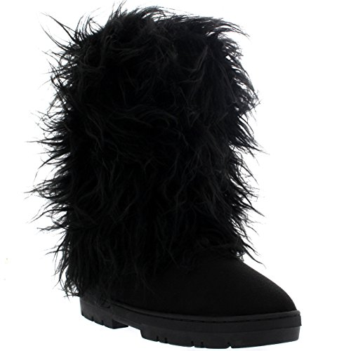 Holly Damen Long Fur Covered Regen Pelz Gefüttert Winter Warm Tall Schnee Stiefel - Schwarz - BLA41 AEA0375