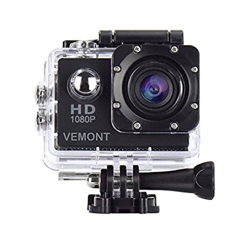 Vemont Full HD 2.0 Inch Action Camera 1080P 12MP Sports Camera Action Cam Underwater 30m/98ft Waterproof Camera and Mounting Accessories Kit for Diving/Bicycle/Climbing/Swimming etc
