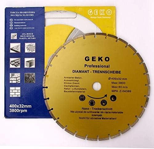 Geko G00256 Segmented RIM RIM RIM Diamond Blade 400 mm x 8 mm x 32 mm (confezione da 4) a33820