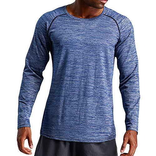 Herren Langarmshirt Slim Fit | Sannysis Männer Langarm Sport Laufshirt Fitness Thermoshirt Atmungsaktiv Schnell Trocknend Tight Longsleeve