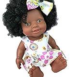 Mitlfuny 3D Realistische Reborn Puppe Afrikanische Puppe Baby Simulation Weichen Vinyl Babypuppe im Strickkleid, Funktionspuppe Spielzeug