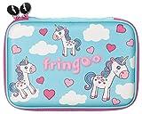 Fringooâ ® Girls Boys Kids Hardtop Pencil Case cute goffrato di grandi dimensioni a scomparti cancelleria organizzatore (Unicorn cuori- Hardtop)