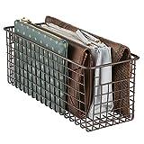 mDesign Schuhbox – praktischer Drahtkorb zur Schuhaufbewahrung – Geldbörsen, Handtaschen oder Schuhe platzsparend aufbewahren – bronzefarben