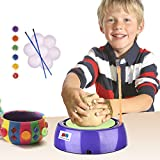 GRAPPLE DEALS Children's DIY Pottery Wheel Kit For Making Handmade Clay Pot Designs With Colours And Brushes For Kids.