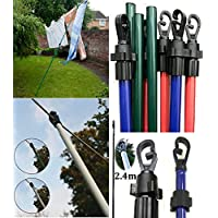 2.4m/8ft Heavy Duty Line Prop Extending Telescopic Clothes Washing Colored Prop Pole Wilsons Direct (2 x 8ft Prop)