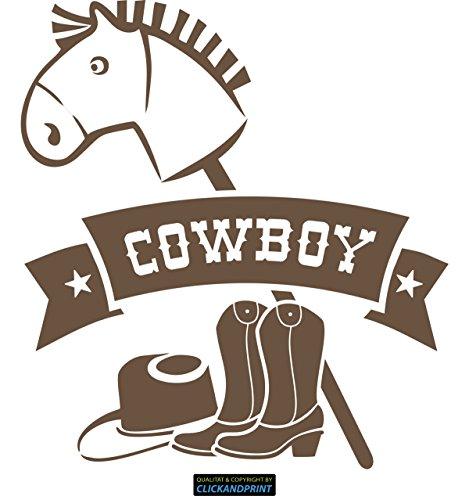 CLICKANDPRINT Aufkleber » Bannerschriftzug: Cowboy - Pferd, Hut & Stiefel, 110x100,4cm, Bronze Antik Metallic • Dekoaufkleber / Autoaufkleber / Sticker / Decal / Vinyl -