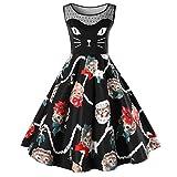 Lenfesh Damen Katze Gedruckt Kleid Kostüm Karneval oder Fasching Cosplay Outfits (XL, Schwarz)