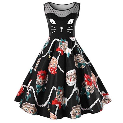 OVERDOSE Damen Cat Printing Ärmelloses Kleid Damen Vintage Swing Lace Dress Ostern Partei-Kleid Büro Kleid Frühling - Büro Zombie Kostüm