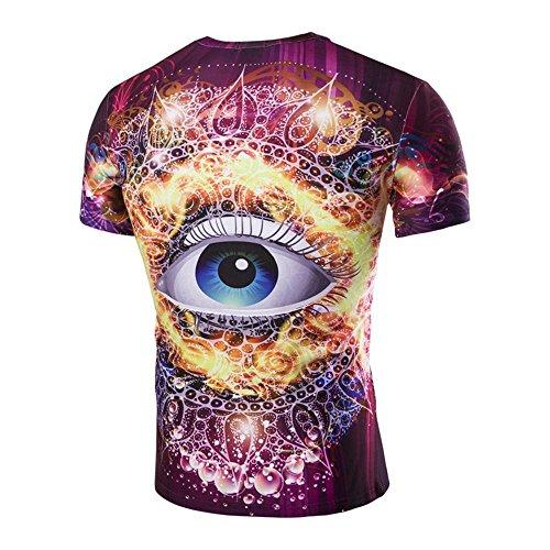 vetri stereo 3D estate degli uomini di stampa personalizzato moda casual a maniche corte T-shirt che basa la camicia slim PURPLERED