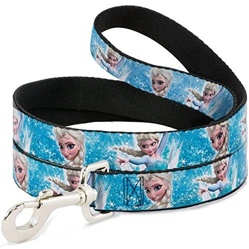 Buckle Down breit 3,8cm Frozen ELSA Face/Action Pose/Schneeflocken Blues/weiß Hund Leine, 4'