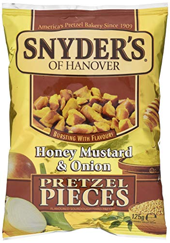 Snyder's Pretzel Pieces - Honey Mustard und Onion, Leckeres Bretzelgebäck - Salziger Knabberspaß - 5er Pack (5x 125 g Tüte)