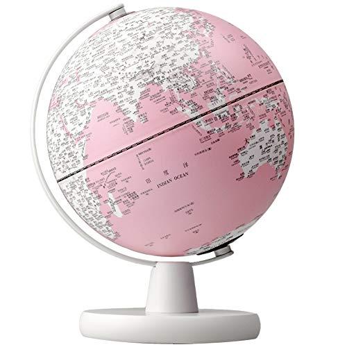 WPFC Weltkugel (Durchmesser 20 cm) - Pädagogisch/Geografisch/Moderne Tischdekoration - Prägeverfahren - mit Holzsockel - Rosa (Durchmesser 20 cm),Pink,L