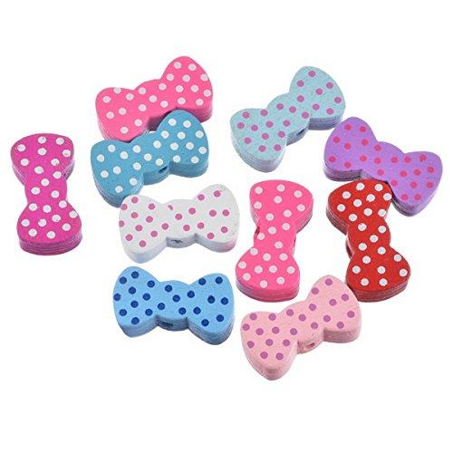 50Farbe sortiert Schleife Holz Perlen Spacer Beads für selbstgemachten Schmuck handgefertigt Craft (Schmuck Erkenntnisse Liefert)