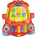 Jiffy Car Shape Piano With Light Toy For Kids - Multicolor