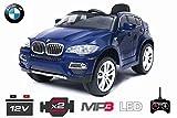 Lizenz Kinderauto BMW X6 2x 35W Motor SUV Elektroauto Kinderfahrzeug Ferngesteuert Elektro RC MP3 (Schwarz)