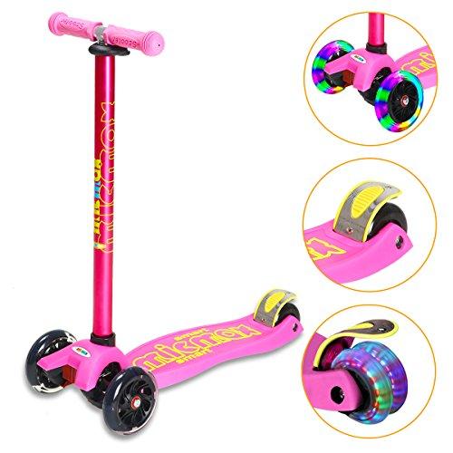 Banne Scooter, Altezza Regolabile Pieghevole Lean a Guidare Lampeggiante Ruote in PU 3 Wheel Kick Scooter per Bambini (Rosa spiegabile)