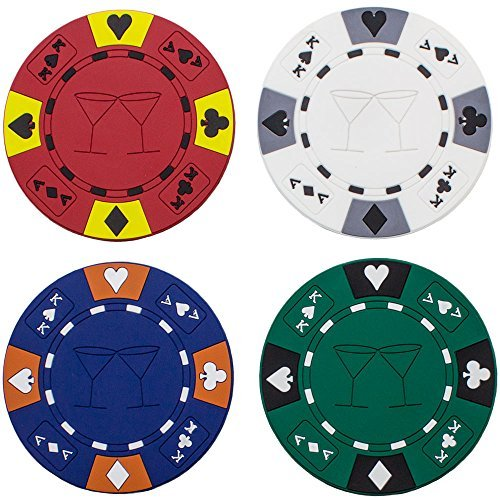 (4) Poker Chips Drink Coaster Bar Set