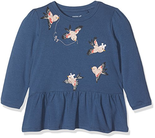 NAME IT Baby-Mädchen Langarmshirt Nitgesta LS Top F NB Blau (Ensign Blue), 74 (Baby-mädchen-shirt-labels)