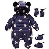 Baby Winter Overall Mit Kapuze Weihnachten Daunen Schneeanzüge mit Handschuhen und Füßlinge Kleidungsset Blau 6-9 Monate