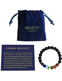 Bracelet Chakra Believe London avec Sac à Bijoux et Carte des Significations   Bracelet Ajustable pour S'adapter à tous les Poignets   Pierres Naturelles des 7 Chakras   Guérisseur Yoga Reiki