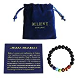 Believe London Bracelet Chakra avec Sac à Bijoux et Carte des Significations | Bracelet Ajustable pour S'Adapter à Tous Les Poignets | Pierres Naturelles des 7 Chakras | Guérisseur (8 inch Bracelet)
