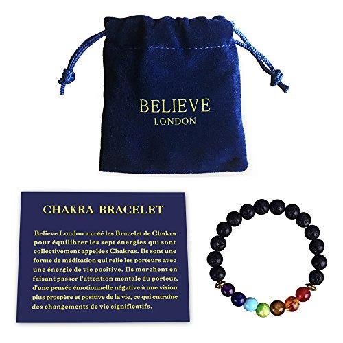 Bracelet Chakra avec Sac à Bijoux et Carte des Significations   Bracelet Ajustable pour S'adapter à tous les Poignets   Pierres Naturelles des 7 Chakras   Guérisseur (6.5 Inch Bracelet)