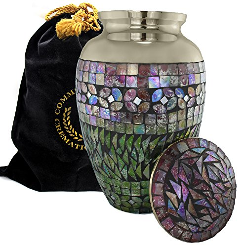 Iridescent Mosaic Cracked Glass SILVER Burial, Niche, Columbarium or Funeral Cremation Urn for Human Ashes - (Large) (Aluminum, Large)