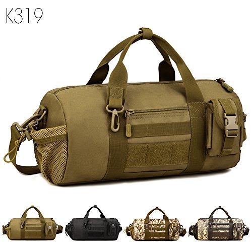 Taktisch Molle Umhängetasche Outdoor Reisetasche Wasserdicht trommelförmig Handtasche Militär Handtasche Schultertasche mit Trageriemen von FLYHAWK (Canvas-gürtel Schleife Tasche)