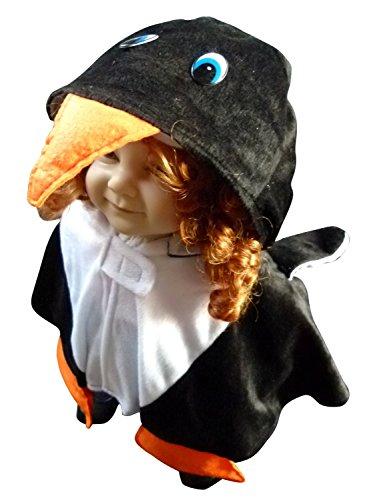 An67/00 Gr. 74-98 Pinguin Umhang Cape Pelerine Kostüm für Fasching und Karneval, Kostüme für Baby Babies Kleinkinder, Faschingskostüm, (Kleine Baby Kostüme Pinguin)