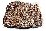Generic Grabplatte, Grabstein, Grabkissen, Urnengrabstein, Liegegrabstein Modell Liberty 40 x 30 x 7 cm Raw Silk-Granit, Poliert inkl. Gravur (Bronze-Color-Ornament Rose 1)