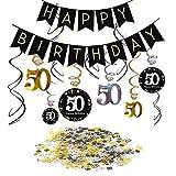 SIMUER 50 Anni Compleanno Decorazione Kit, Striscione Compleanno Bandierine, Nero Appeso soffitto Spirale Decorazione, Buon Compleanno & 50 Tavolo coriandoli per Festa di 50 ° Compleanno Decorazioni