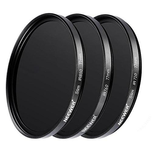Neewer 3 Stück 77MM Optisches Glas Infrarot IR Filter Set für Sony Canon Nikon Olympus Pentax Panasonic DSLR Kameras, Inklusive IR720 IR760 IR850 Filter, Objektivdeckel und vieles mehr