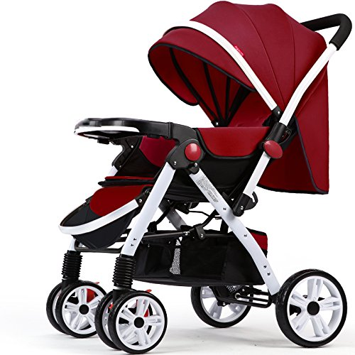 GDLXL Neonatal Kombikinderwagen JMY-001 Bidirektional Klappbare Baby Buggy Geeignet Für Kinder Von 0-3 Jahren Kinderwagen,Red