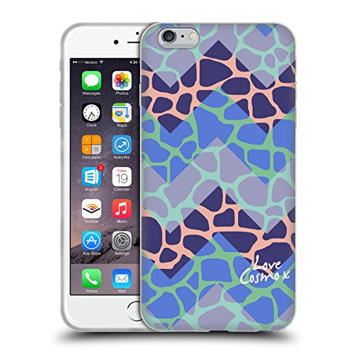 Official Cosmopolitan Blue Triangles Totally 80S Soft Gel Case for Apple iPhone X Chevron Giraffe
