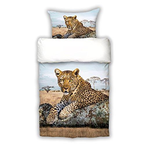Schwanberg Bettwäsche Leopard Bunt Wildkatze Raubtier Renforcé, Größe:135x200 cm + 80x80 cm