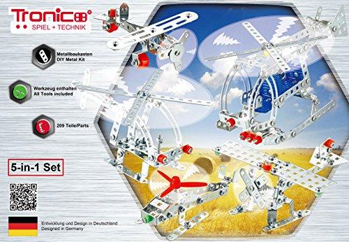 Tronico Metallbaukasten, 5 Modelle, 5-in-1, Flugzeuge, 209 Teile, bunte Teile, 4-farbige Aufbauanleitung, inklusive Werkzeug, ab 8 Jahren, Starter Set, Multibaukasten, rcee