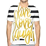 3D Printed T Shirts,Romantic Design with Hand Drawn Stripes and Calligraphic Text L