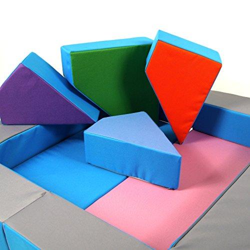 Spielsofa 4in1 Kindersofa Spielmatraze für das Kinderzimmer Spielpolster Softsofa rosa/hellblau Puzzle Kinderzimmersofa Spieltisch Kindermöbel - 5