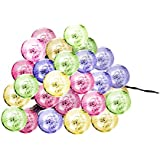 Luces Globo Para Exterior, Satu marrón 30 LED Bola De Cristal 21 ft 6,5 m Festoon fiesta Solar String Lights Ambiance iluminación para Navidad Xmas, Patio, jardín, patio deck y # xFF08; Multicolor)
