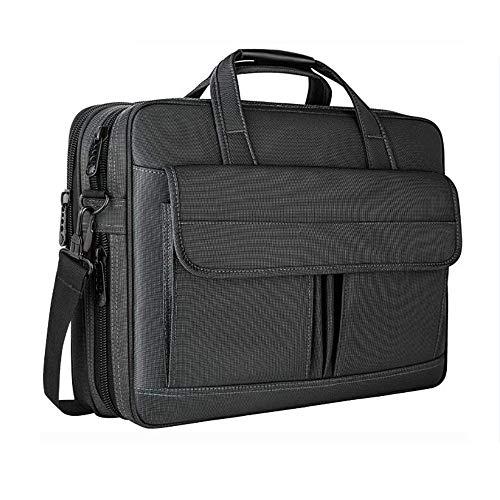 GXING 15,6-Zoll-Laptop-Tasche, Business-Computer-Laptop-Tasche geräumige Laptop-Tasche Damen und Herren Schulter Messenger Bag schwarz (Kenneth Cole Aktentasche Braun)