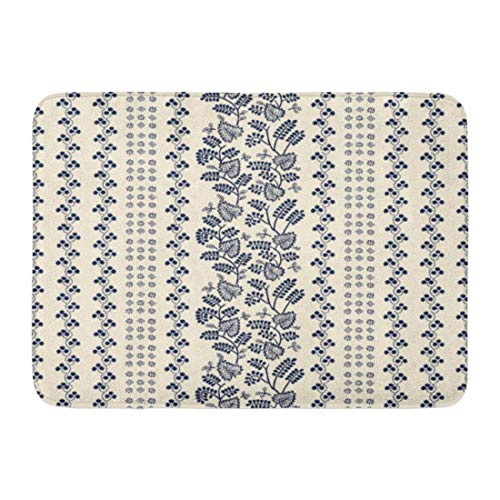ghkfgkfgk Doormats Bath Rugs Outdoor/Indoor Door Mat Indigo Block Printed Ethnic Floral Pattern Russian Folk Leaves Vines and Stripes of Navy Blue on Ecru Bathroom Decor Rug 23.6 x 15.7 Inch -
