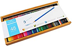 Bianyo Artist Quality Watercolor Pencil Set - 48 Colored Pencils with Free Blending Brush in Wooden Case