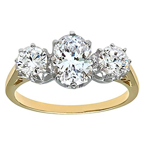 Citerna 9 ct Yellow and White Gold 3-Stone Ring - Size J